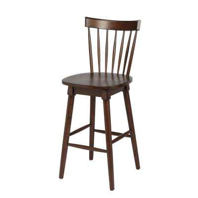 Elise 29 in. Walnut Bar Height Swivel Bar Stool (Individual)