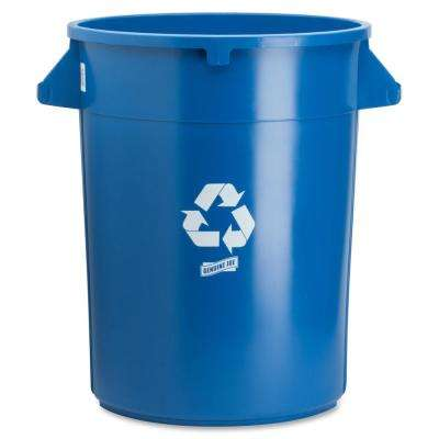 32 Gal. Blue Round Heavy-Duty Trash Can