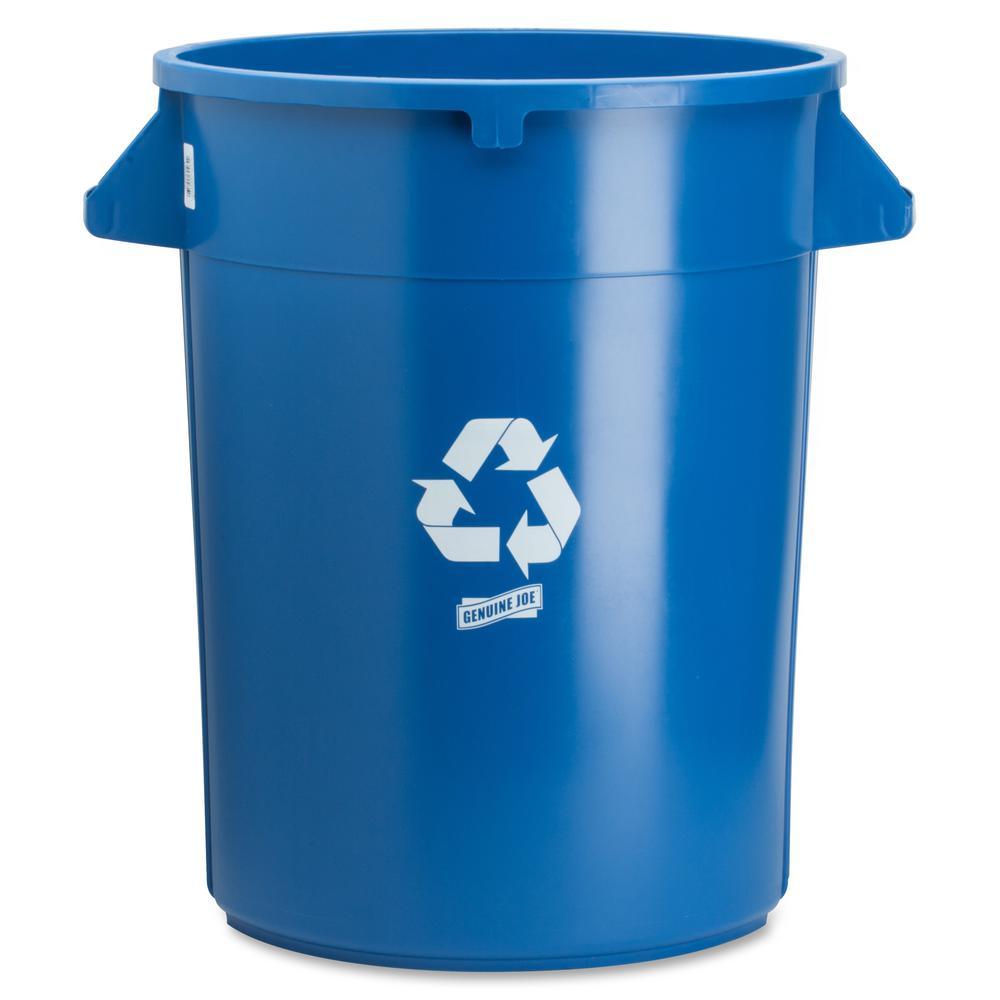 32 Gal. Blue Round Heavy-Duty Trash Can