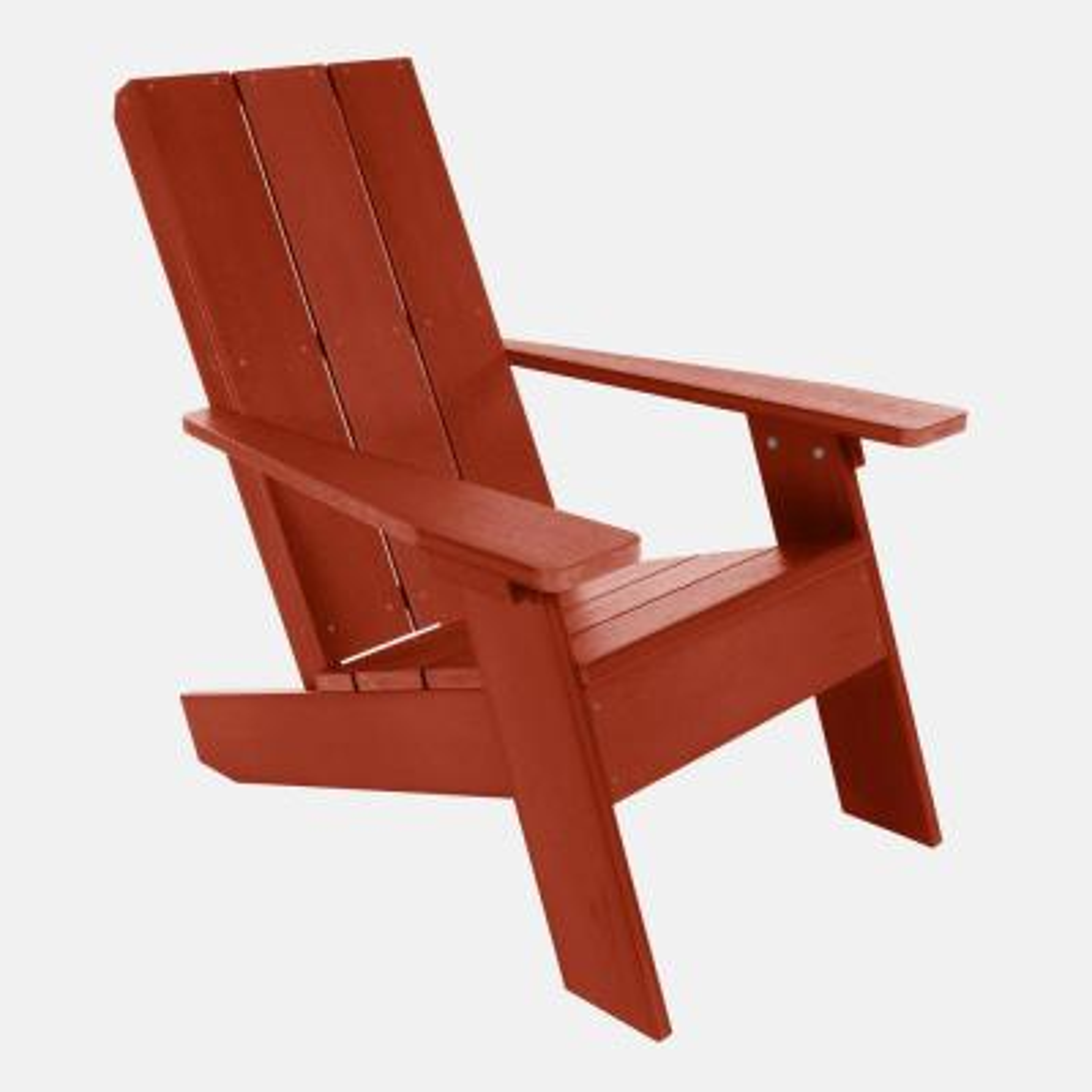 Barcelona Modern Rustic Red Plastic Adirondack Chair