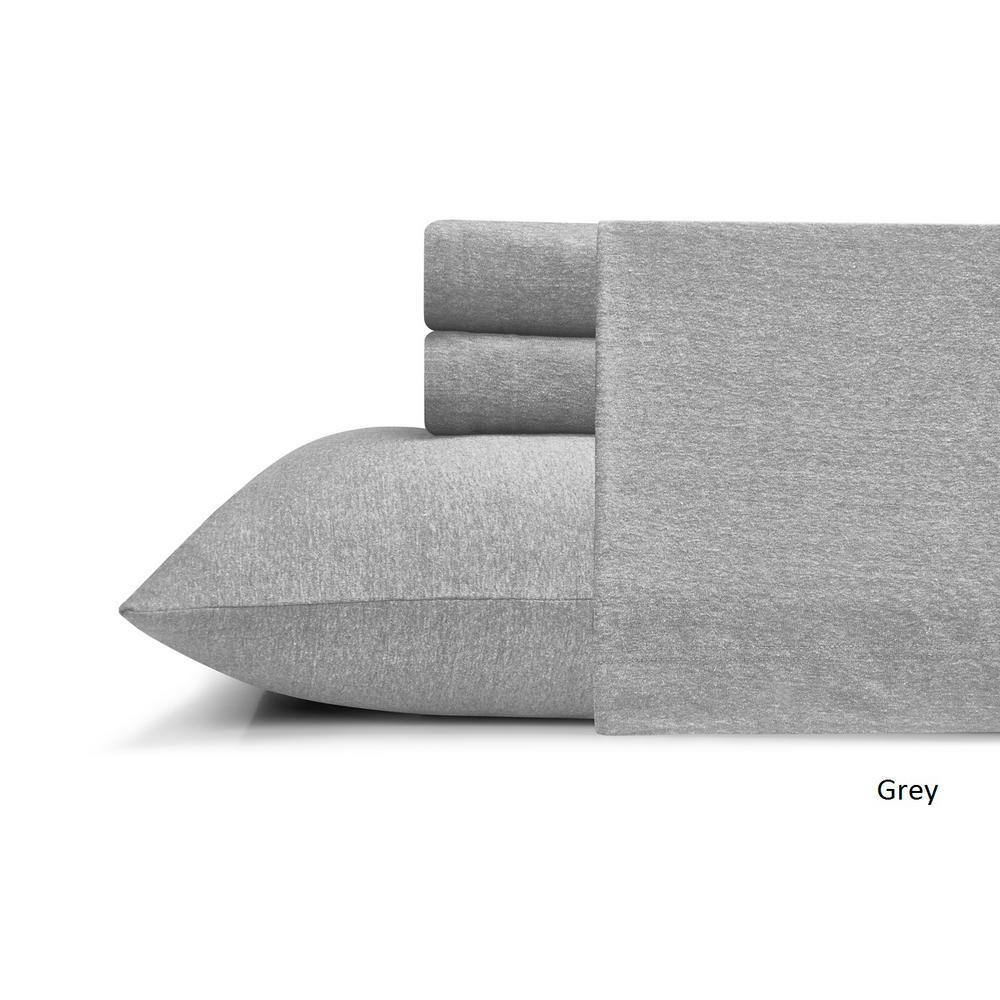 Prime Morgan Home Heather Jersey 4 Piece Gray Solid King Sheet Set Dailytribune Chair Design For Home Dailytribuneorg
