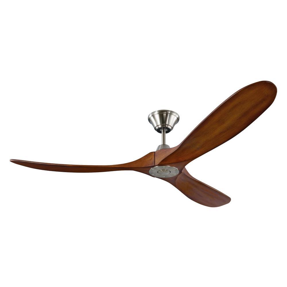 Maverick 60 in. Indoor/Outdoor Brushed Steel Ceiling Fan with Koa Blades