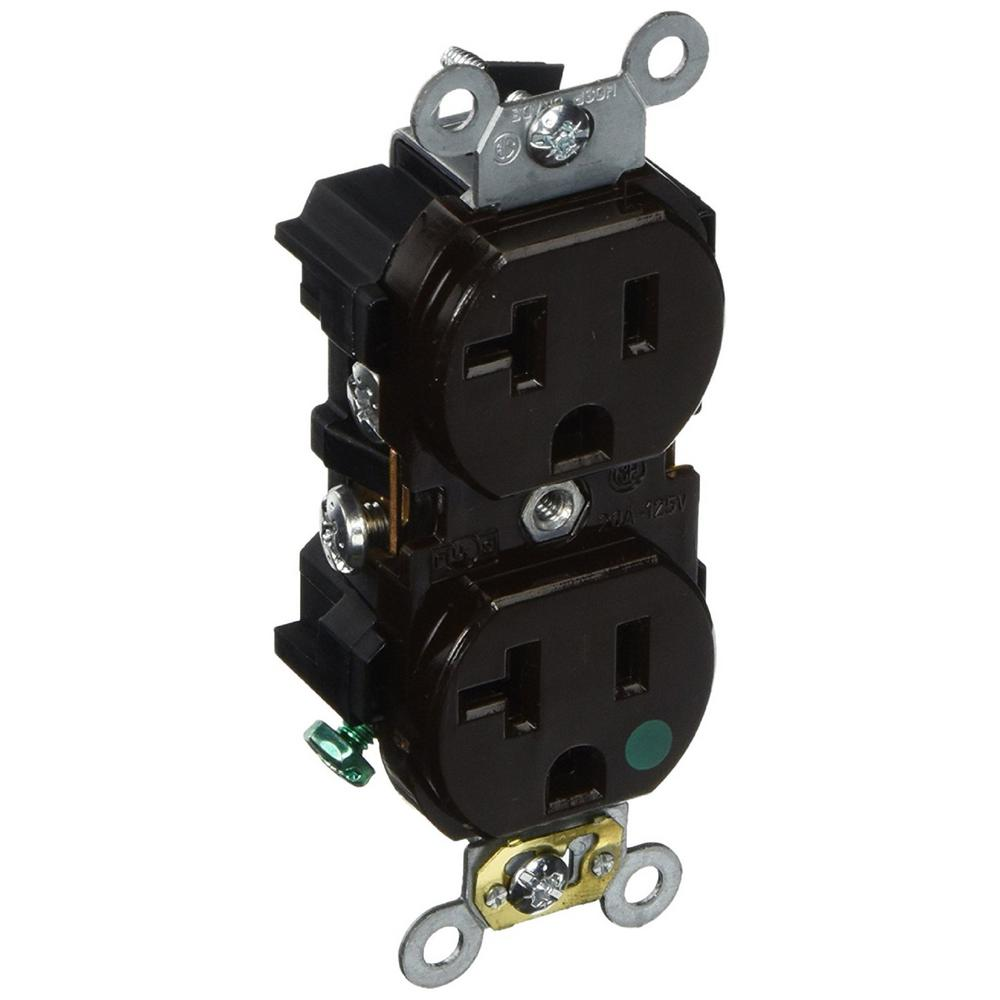 20 Amp Hospital Grade Extra Heavy Duty Self Grounding Duplex Outlet,