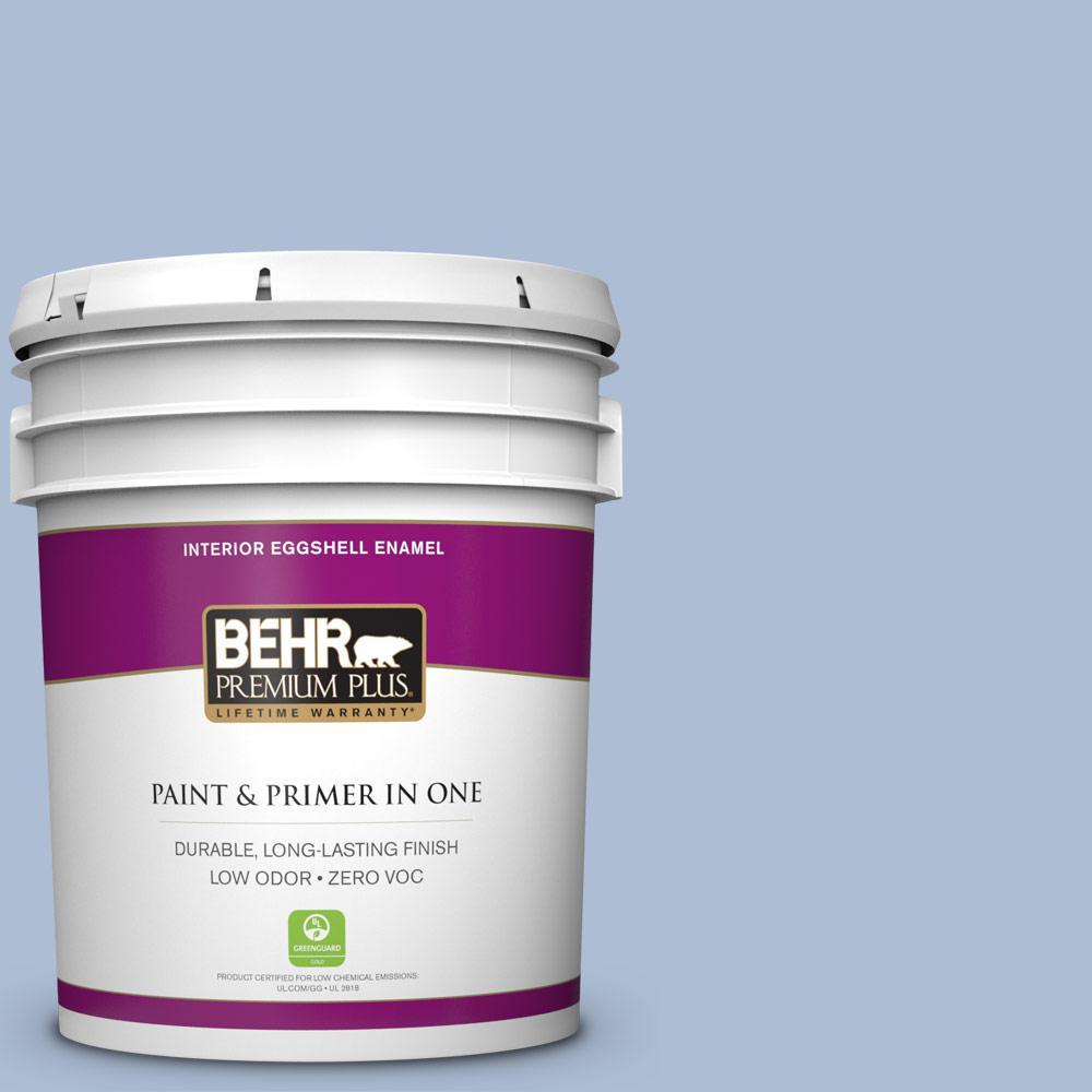 BEHR Premium Plus 5-gal. #580E-3 Sweet Blue Zero VOC Eggshell Enamel Interior Paint