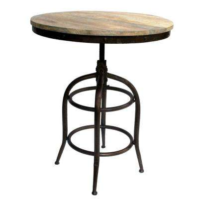 Brown and Black Industrial Style Adjustable Swivel Metal Bar Table