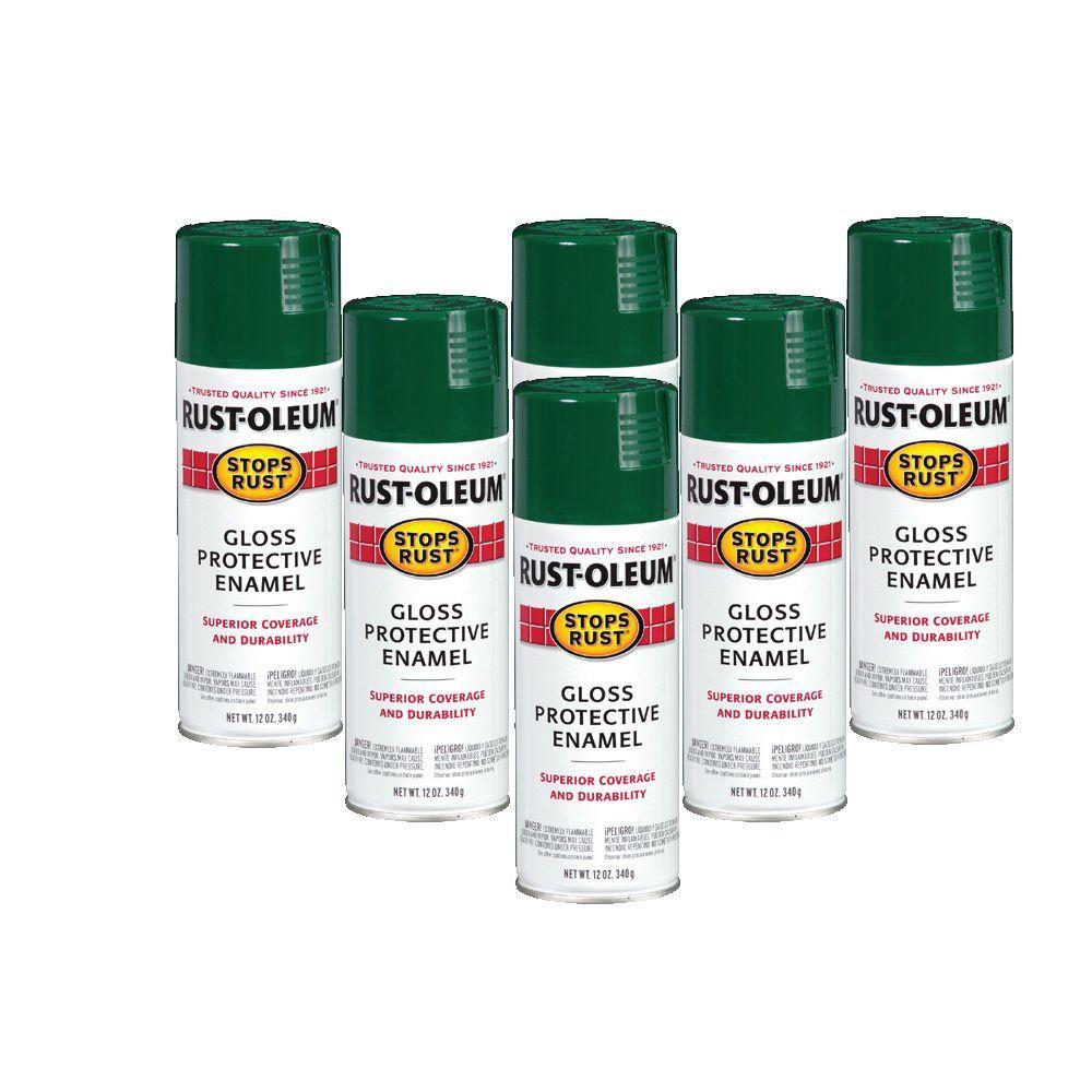 Rust-Oleum Stops Rust 12 oz. Gloss Hunter Green Spray Paint (6-Pack)-DISCONTINUED