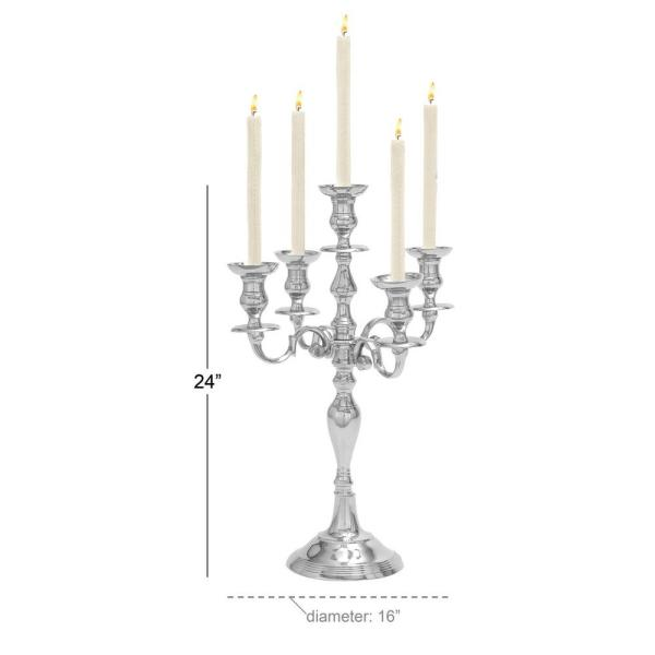 N A 24 Tall Silver Candelabra 5 Candle