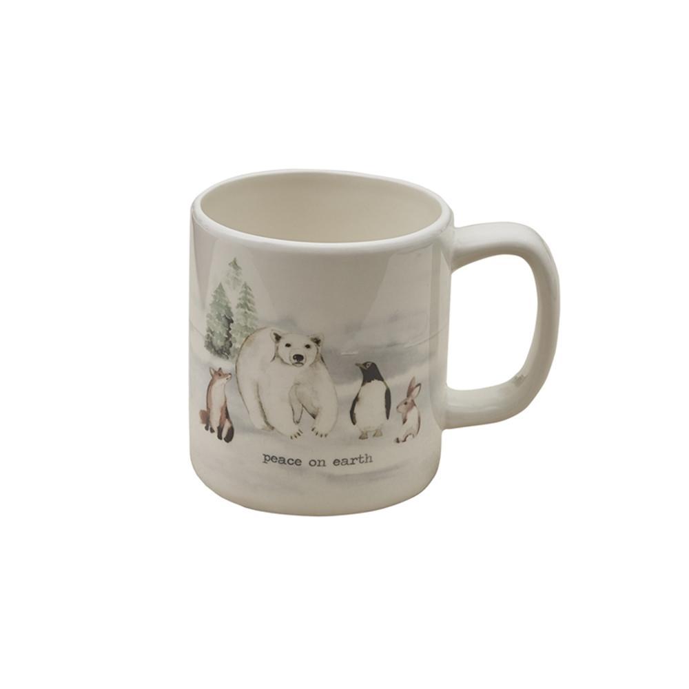 Winterland Peace 16 oz. Multicolor Ceramic Coffee Mug (Set of 4)