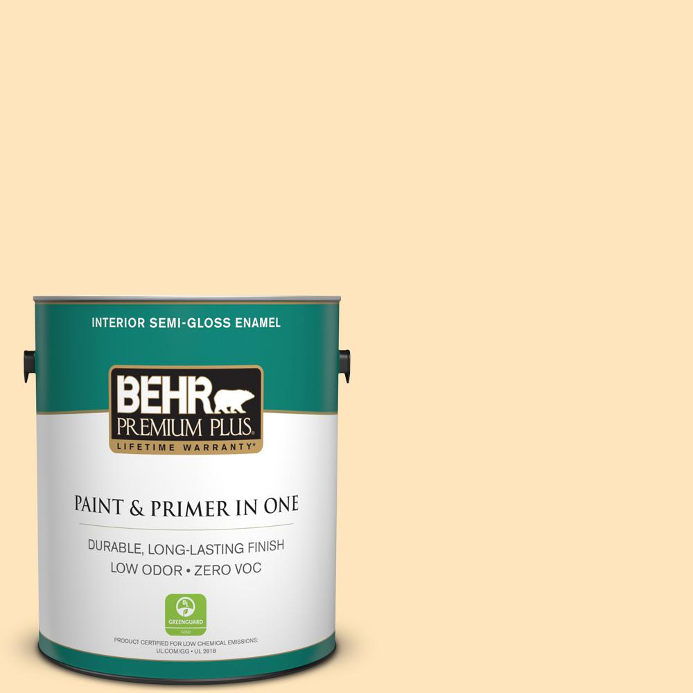 1-gal. #ICC-91 Lemon Whip Zero VOC Semi-Gloss Enamel Interior Paint
