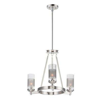 Crescendo 20 in. W 3-Light Satin Nickel Chandelier with Clear/Frosted Shade