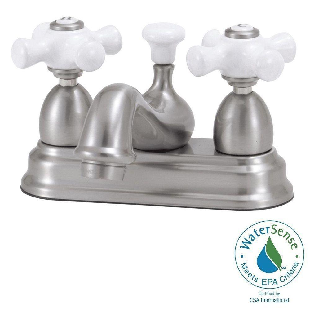 World Imports Bradsford 4 in. 2-Handle Mid-Arc Bathroom Faucet in Satin Nickel with Porcelain Cross Handle