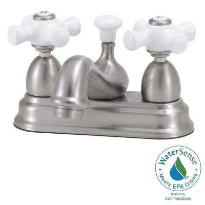 Bradsford 4 in. 2-Handle Mid-Arc Bathroom Faucet in Satin Nickel with Porcelain Cross Handle