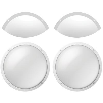 Shorebreaker Kit 10 in. White Round LED Outdoor Coastal Bulkhead Light Wall Ceiling Includes 2 Fixtures - 2 Half Guards
