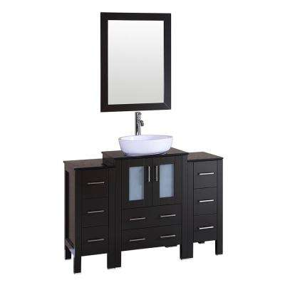 48 in. W Single Bath Vanity with Glass Vanity Top in Espresso with White Basin and Mirror