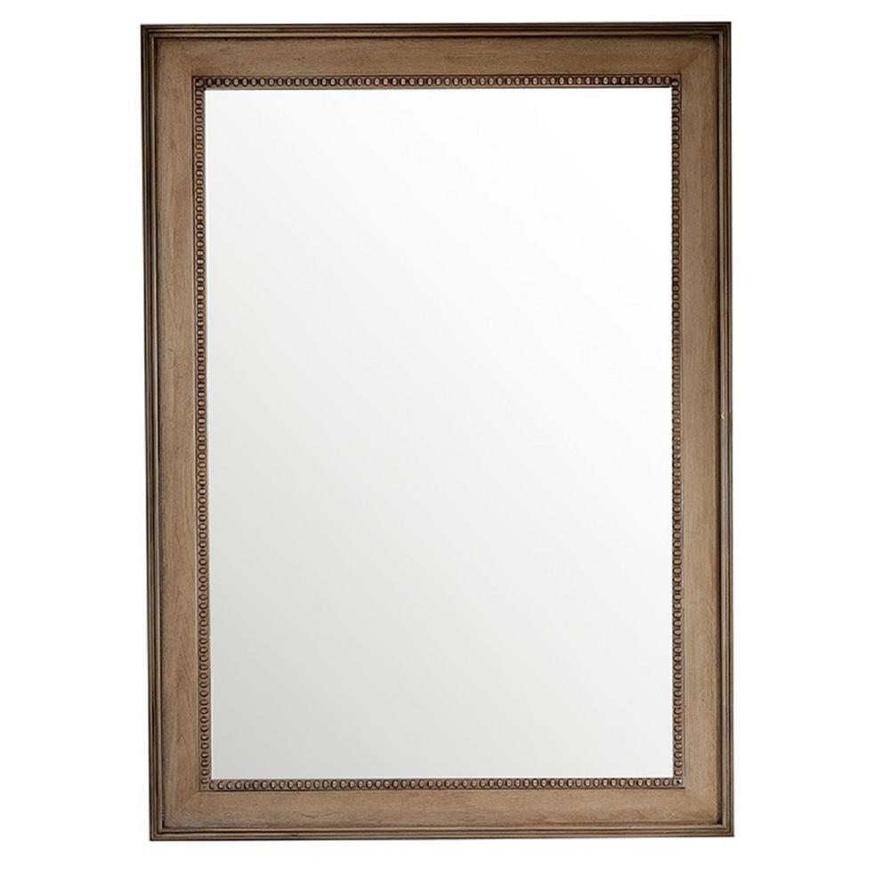 Bristol 29 in. W x 40 in. H Single Framed Wall Mirror in Whitewashed Walnut