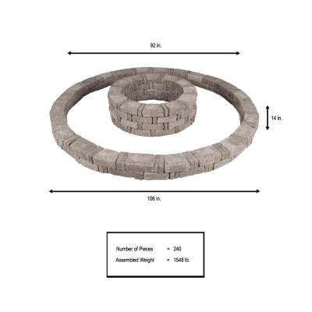 RumbleStone 106 in. x 14 in. Double Tree Ring Kit in Greystone