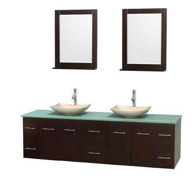 Centra 80 in. Double Vanity in Espresso with Glass Vanity Top in Green, Ivory Marble Sinks and 24 in. Mirrors