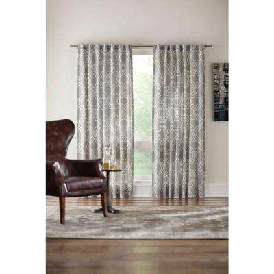 Semi-Opaque Pewter Gray Garden Gate Back Tab Curtain - 54 in. W x 84 in. L