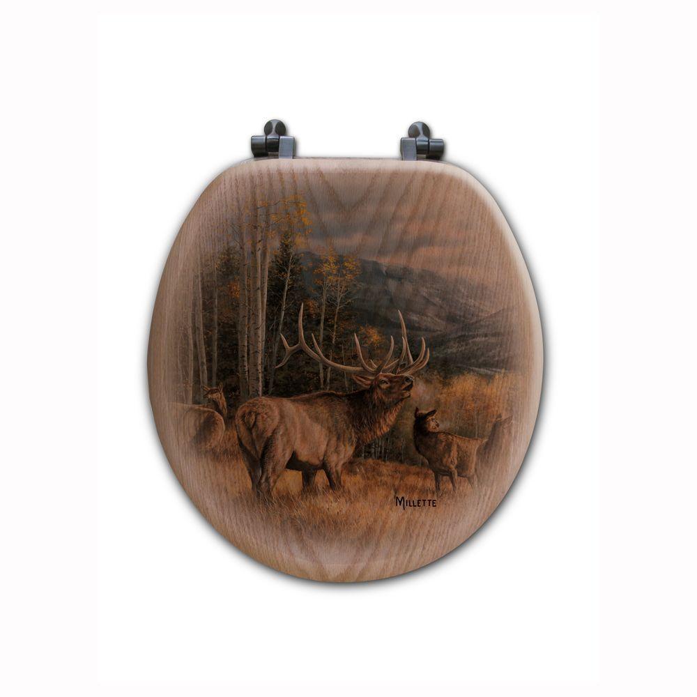 Meadow Music Elk Round Closed Front Wood Toilet Seat in Oak Brown