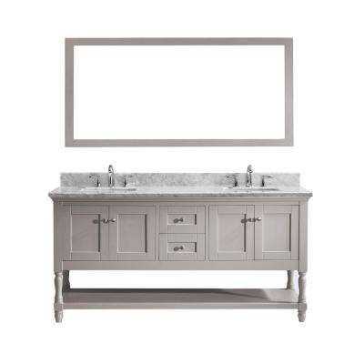 Julianna 72 in. W Bath Vanity in Gray with Marble Vanity Top in White with Square Basin and Mirror
