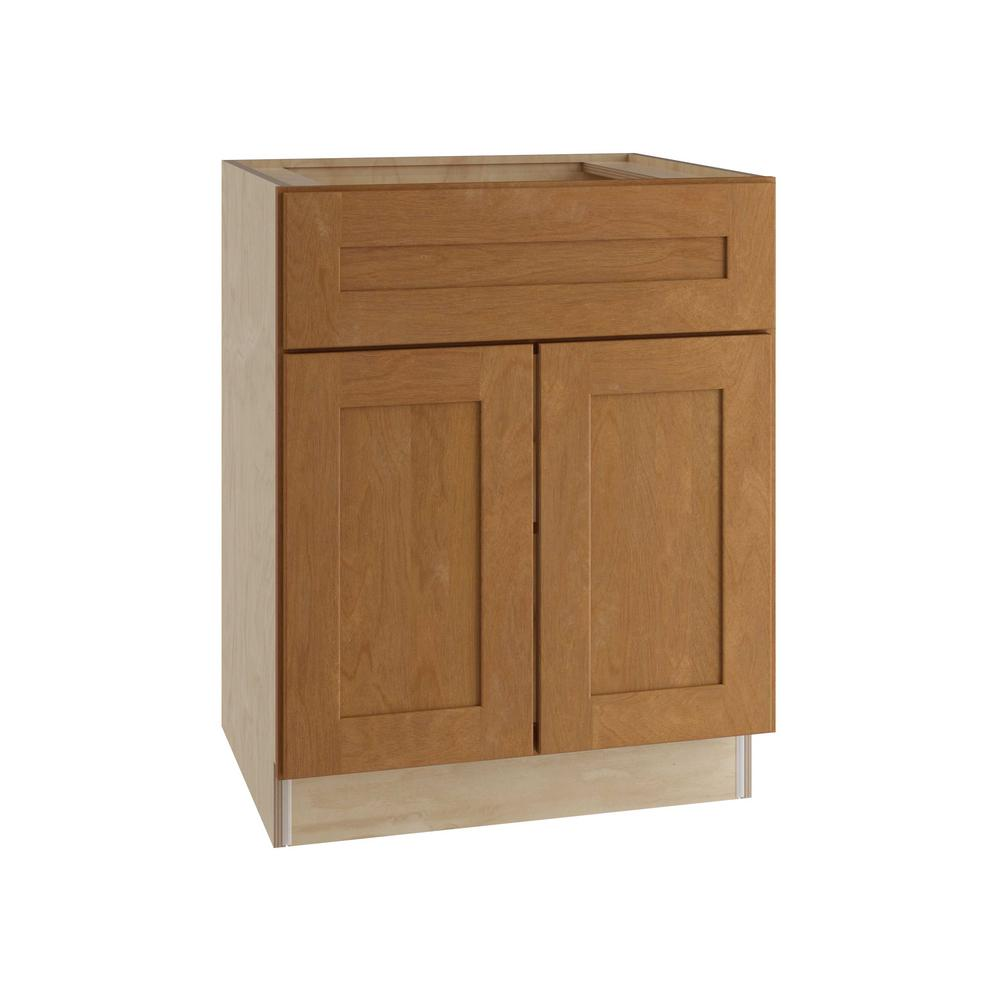 Home Decorators Collection Hargrove Assembled 27x34.5x24 in. Double Door Base Kitchen Cabinet, Drawer and Rollout Tray in Cinnamon