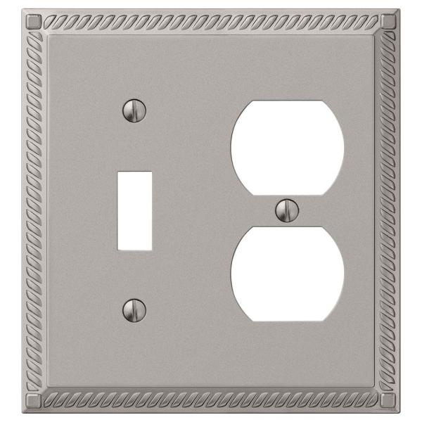 Georgian 2 Gang 1-Toggle and 1-Duplex Metal Wall Plate - Satin Nickel
