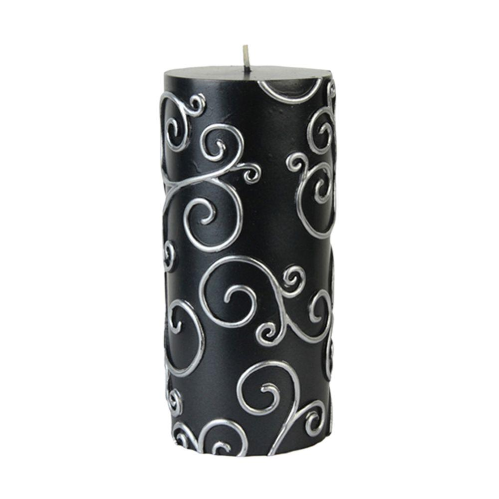 Zest Candle 3 in. x 6 in. Black Scroll Pillar Candle Bulk (12-Case)