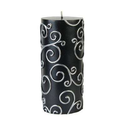 3 in. x 6 in. Black Scroll Pillar Candle Bulk (12-Case)