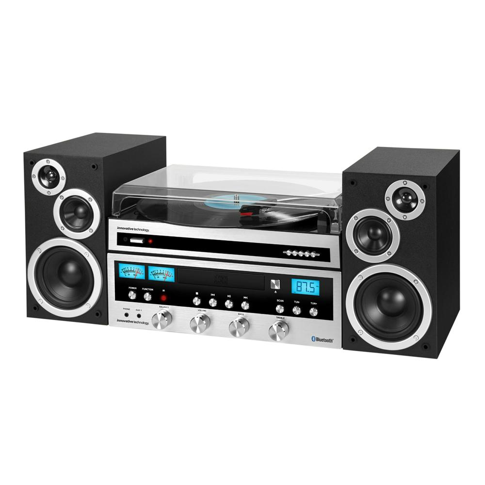 50-Watt Classic CD Stereo Record Player with Bluetooth