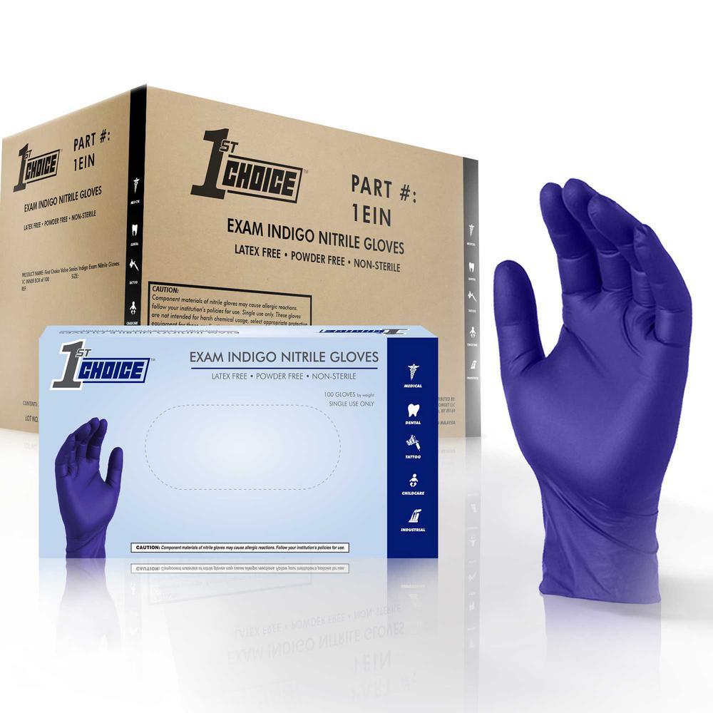 Large Indigo Nitrile Exam Powder-Free Disposable Gloves (10-Boxes of 100-Count)