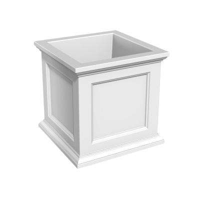 Fairfield 28 in. White Plastic Square Planter