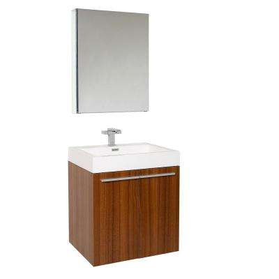 Alto 23 in. Vanity in Teak with Acrylic Vanity Top in White with White Basin and Medicine Cabinet