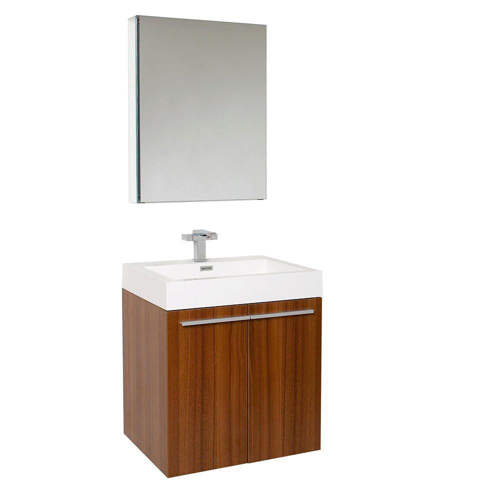 Charmant Vanity In Teak With Acrylic Vanity Top In White With White Basin And Medicine  Cabinet