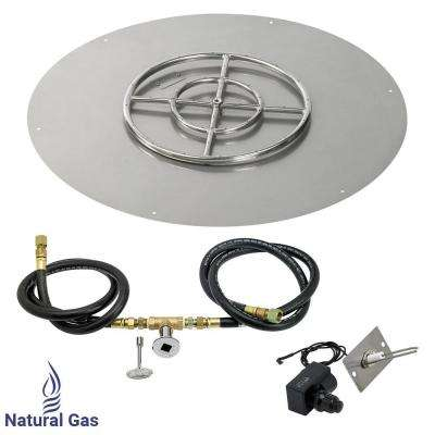 30 in. Round Stainless Steel Flat Pan with Spark Ignition Kit - Natural Gas (18 in. Ring Burner Included)