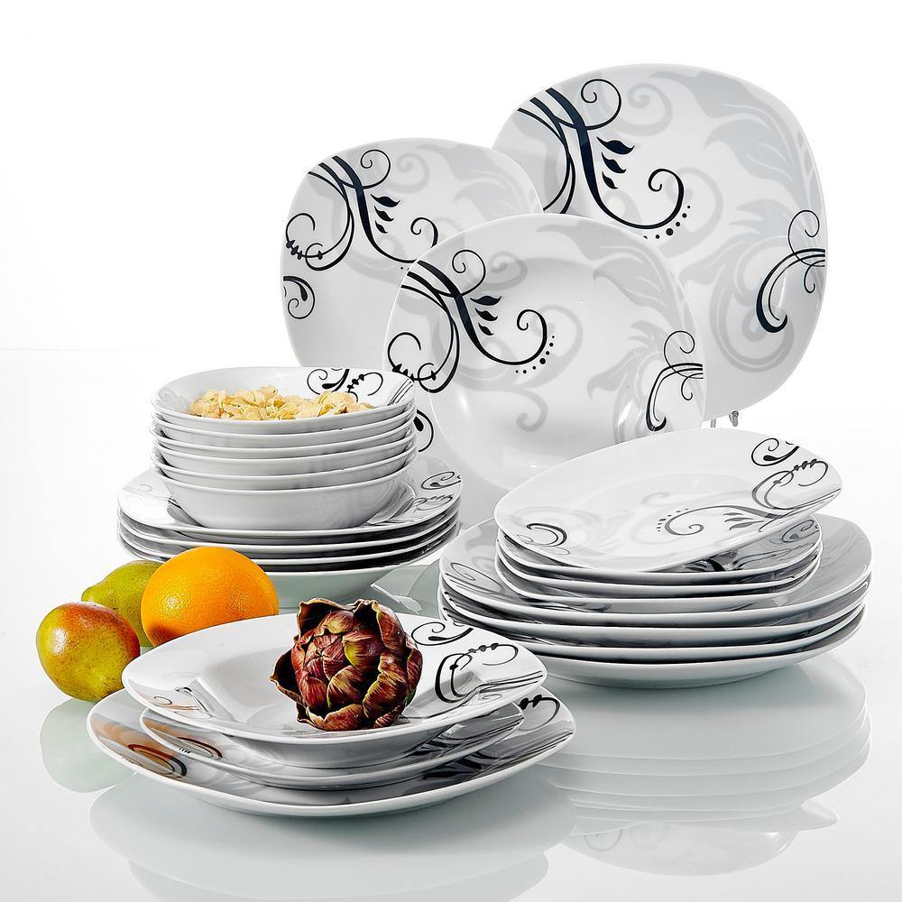 24-Piece White Porcelain Dinnerware Set Plates and Bowls Set (Service for 6)