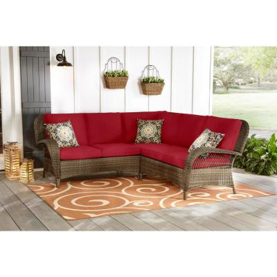 Beacon Park 3-Piece Brown Wicker Outdoor Patio Sectional Sofa with CushionGuard Chili Red Cushions