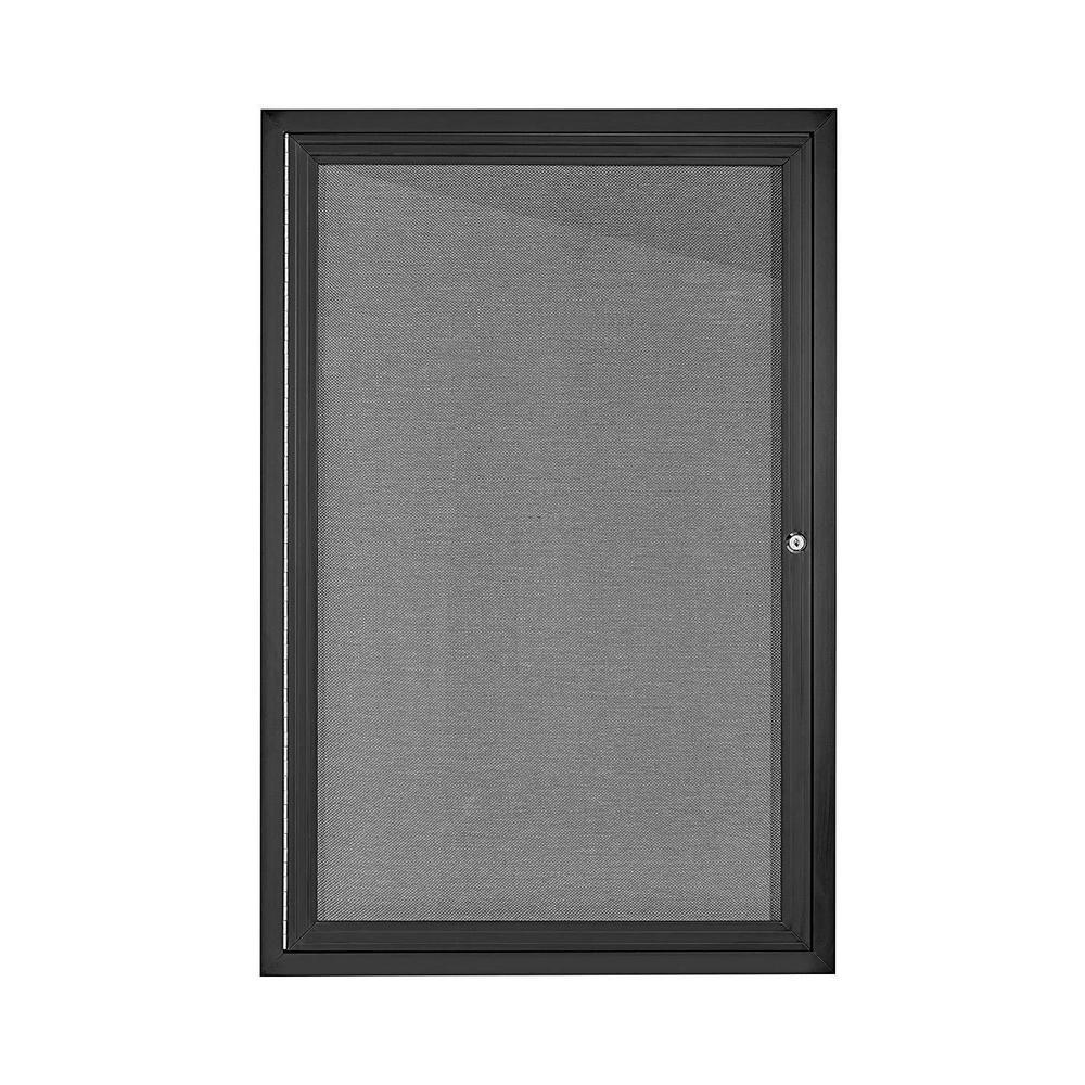 AdirOffice 24 in. x 36 in. Grey Black Lockable Enclosed Bulletin Fabric Board Memo Board