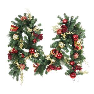9 ft. Battery Operated Plaza Artificial Garland with 50 Clear LED Lights