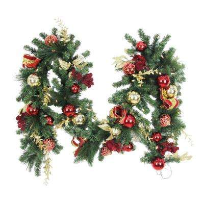 9 Ft Battery Operated Plaza Artificial Garland With 50 Clear Led Lights