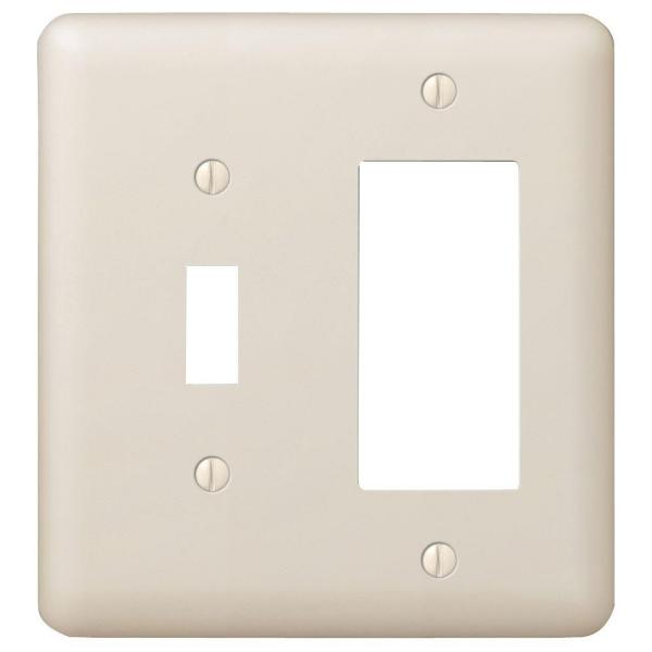 Declan 2 Gang 1-Toggle and 1-Rocker Steel Wall Plate - Almond