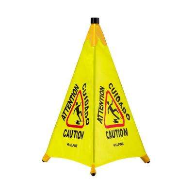 30 in. Yellow Multi-Lingual Pop-Up Wet Floor Sign