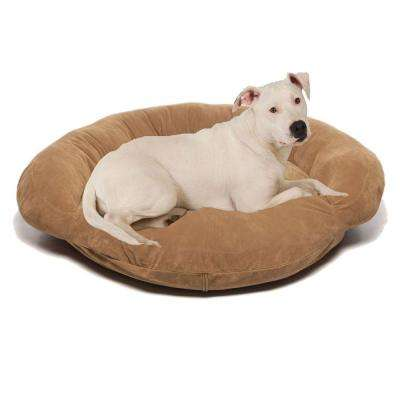 Medium Velvet Microfiber Bolster Pet Bed - Chocolate