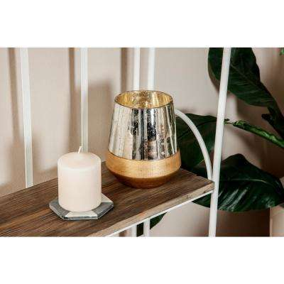 7 in. Silver and Gold Cup-Shaped Glass Candle Holder