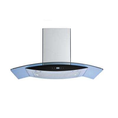 36 in. Wall Mount Convertible Range Hood in Stainless Steel and Glass with Touch Control LED Lights and Aluminum Filter