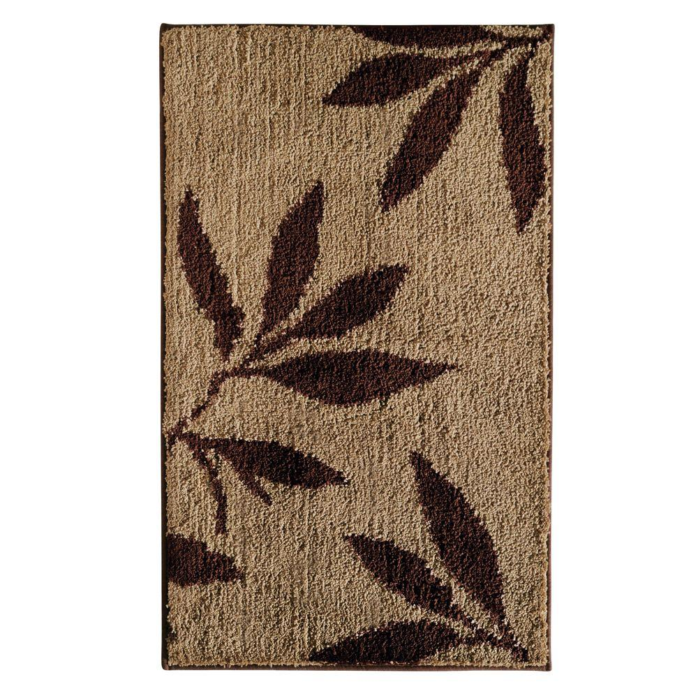 Merveilleux InterDesign Leaves 34 In. X 21 In. Bath Rug In Brown/Tan