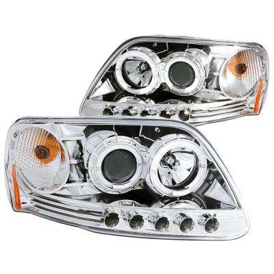 1997.5-2003 Ford F-150 Projector Headlights w/ Halo and LED Chrome 1pc