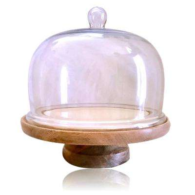 1-Tier Rustic Wooden Cake Stand with Glass Top and 10 in. Pedestal Mango Wood Base