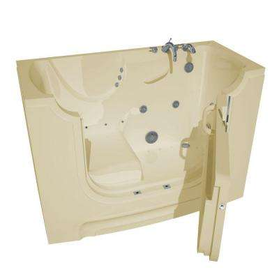 5 ft. Right Drain Wheel Chair Accessible Whirlpool and Air Bath Tub in Biscuit