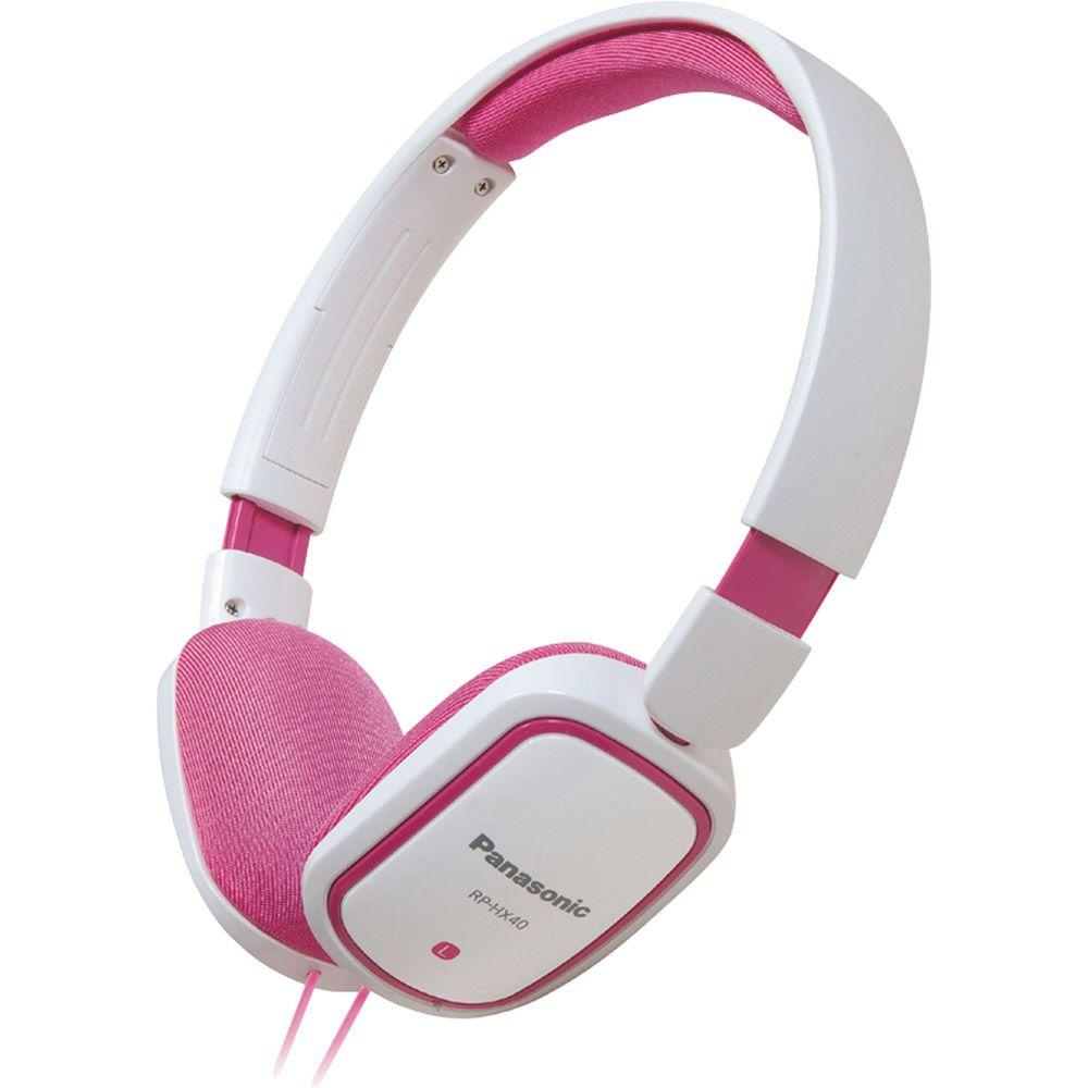 Panasonic Slimz Over-Ear Headphone - White and Pink-DISCONTINUED
