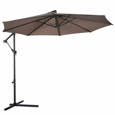 10 ft. Hanging Sun Shade Offset Market Outdoor Patio Umbrella in Tan with Cross Base